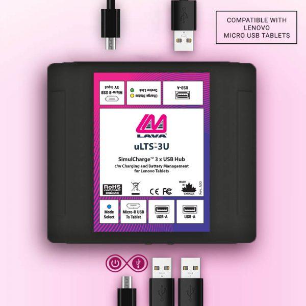 Lenovo Micro USB 3 x USB Hub with Host/OTG Charge Support